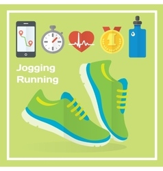 Jogging and running concept flat icons of gym vector