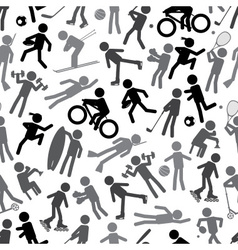 Sport silhouettes gray-scale simple icons seamless vector