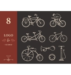 Set vintage sign and silhouette bicycle and vector