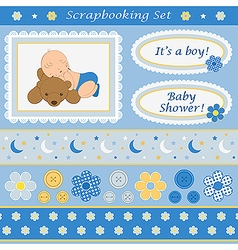 Scrapbooking set for baby boy vector