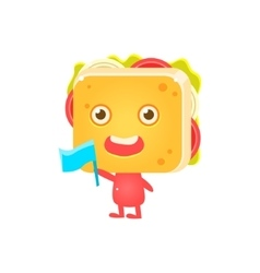 Sandwich character cheering with flag vector