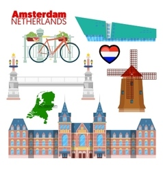Amsterdam Netherlands Travel Doodle vector image vector image