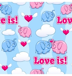 baby elephant in love pattern vector image