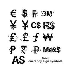 black 8-bit currency sign symbols set vector image vector image
