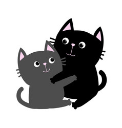 black gray cat hugging family couple hug embrace vector image
