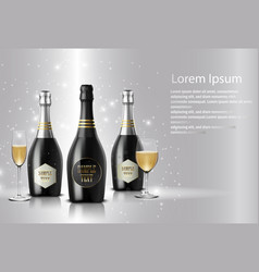 black wine bottle with black wine glass vector image vector image