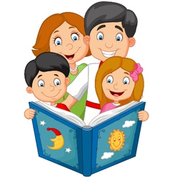 Cartoon family read a bedtime story vector
