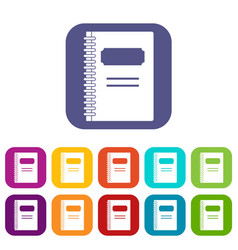 Closed spiral notebook icons set flat vector