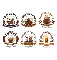 Coffee shop cafe label emblems set vector image