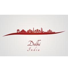 Delhi skyline in red vector