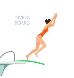 Diving board and girl in red swimsuit jumps from vector