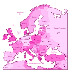 Europe map of pink colors vector