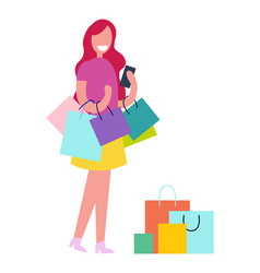 Female with shopping bags vector
