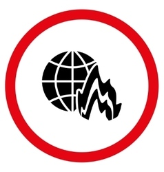 Global fire flat rounded icon vector