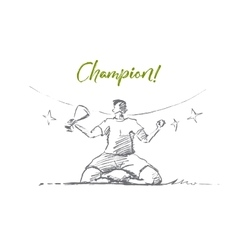 Hand drawn champion holding victory cup lettering vector image vector image