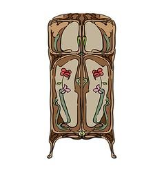 jugendstil wardrobe with flowers vector image vector image