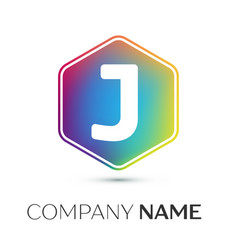 letter j logo symbol in the colorful hexagonal on vector image