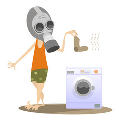 Man in the gas mask and washing machine isolated vector