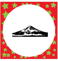 Mount fuji japan black 8-bit vector