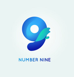 number nine in trend shape style vector image