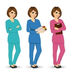nurse posing in three different scrubs vector image vector image