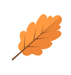 oak yellow autumn leaf icon flat style isolated vector image vector image