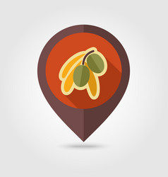 Olive flat pin map icon tropical fruit vector