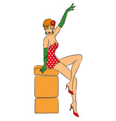 pin-up girl vector image vector image