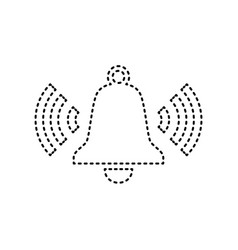 Ringing bell icon black dashed icon on vector