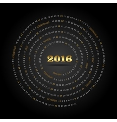 Round calendar for 2016 year Week Starts Sunday vector image vector image