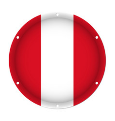 Round metallic flag of peru with screw holes vector