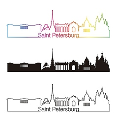 Saint petersburg skyline linear style with rainbow vector