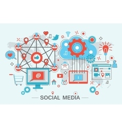 Social Network and Social Media vector image vector image