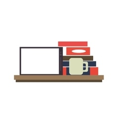 Tablet on shelf with books and coffee image vector