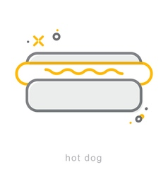 Thin line icons hot dog vector