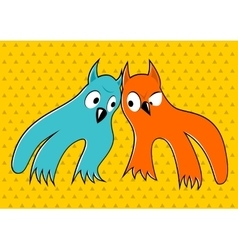 Two cartoon monsters looking at each other vector