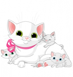 white cats family vector image vector image
