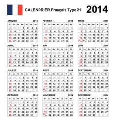 Calendar 2014 French Type 21 vector image