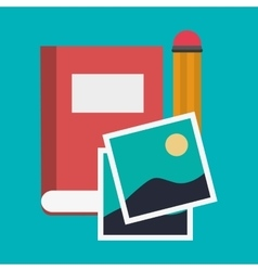 Book pencil and picture design vector