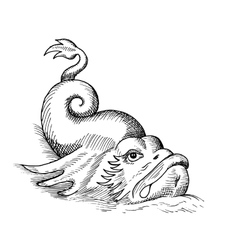 fish monster isolated vector image