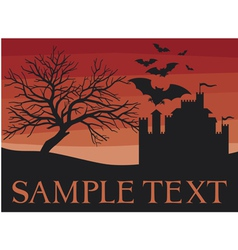 Bats flying with old castle and scary black tree vector