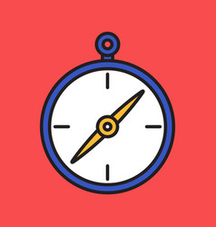 Compass simple flat colorful icon black outline vector