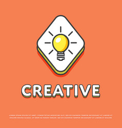 Creative colour icon with light bulb vector