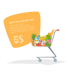 complete shopping cart truck with fresh products vector image