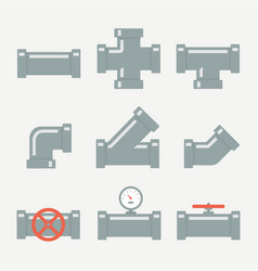 Pipe fittings set vector