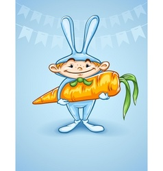 Happy little boy in rabbits vector