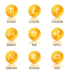 Set of cryptocurrency coin symbols icons signs vector