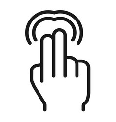 2 finger double tap line icon touch and gestures vector