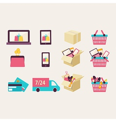 Flat design e-commerce symbols vector