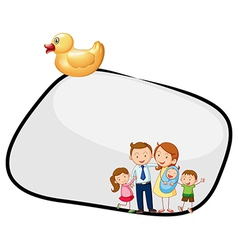 An empty template with a family and a rubber duck vector image